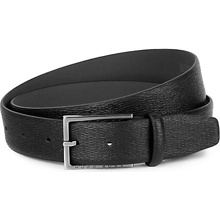 HUGO BOSS Petrof textured leather belt (Black