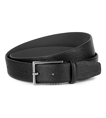 HUGO BOSS Petrof textured leather belt (Black