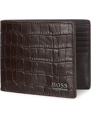 HUGO BOSS Croc-embossed leather billfold wallet