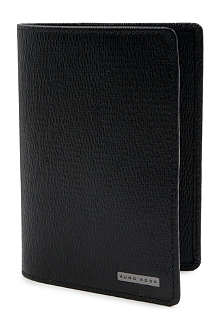 HUGO BOSS Grain leather passport holder