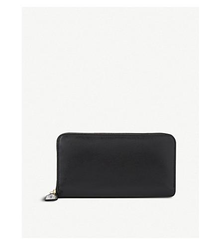 LAUNER Leather zip-around purse (Black+red