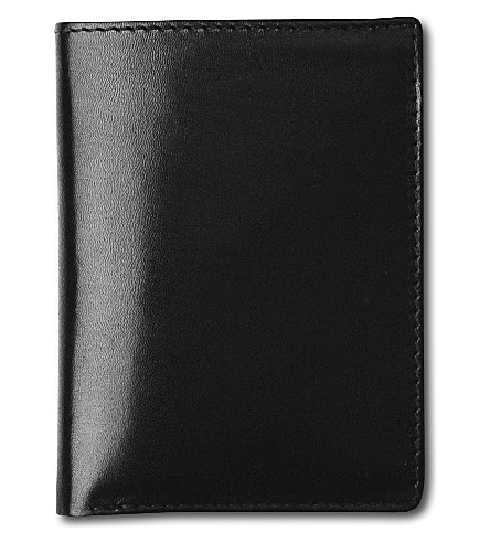LAUNER Small leather card wallet (Black/red