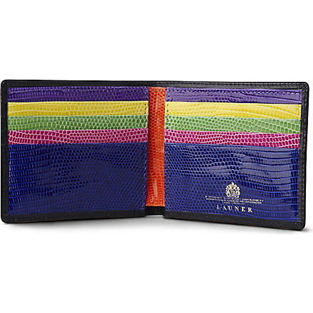 LAUNER Multicoloured lizard interior credit card wallet (Black