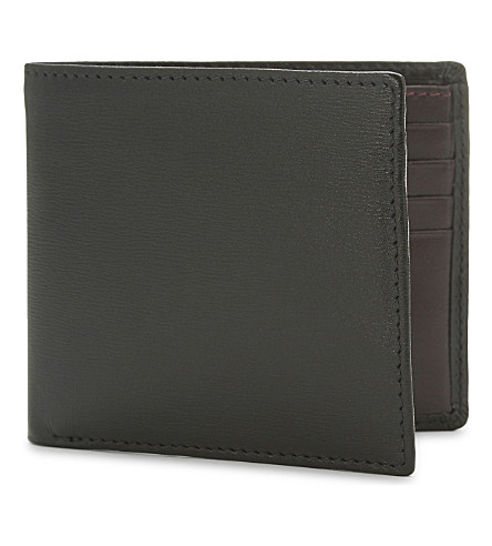 LAUNER Calf leather billfold wallet (Black+burgundy