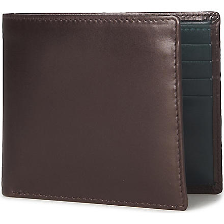 LAUNER Contrast–lining eight card billfold wallet (Brown/green