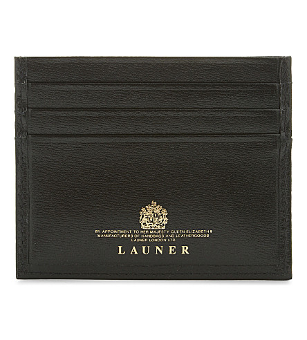 LAUNER Calf leather card holder (Black