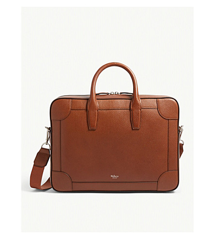 MULBERRY Vegetable tanned leather briefcase (Oak