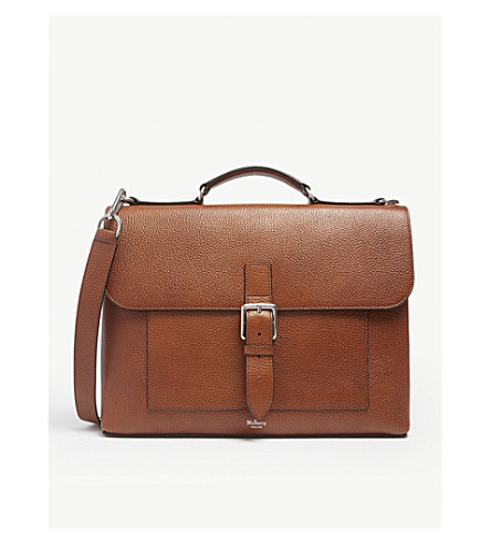 MULBERRY Chiltern small grained leather briefcase (Oak
