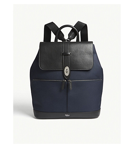 MULBERRY Reston leather backpack (Navy+black