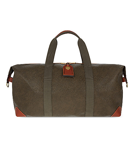 MULBERRY Medium scotchgrained leather Clipper holdall (Mole+cognac