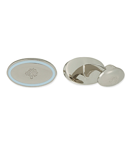 MULBERRY Oval Thin Line cufflinks (Pale+blue