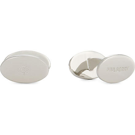 MULBERRY Oval reversible cufflinks (Silver
