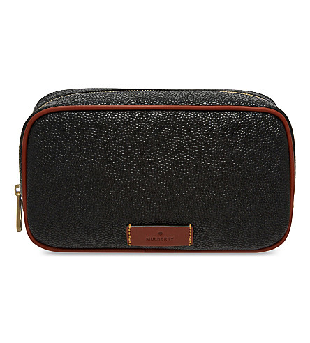 MULBERRY Scotchgrain leather wash case (Black/cognac