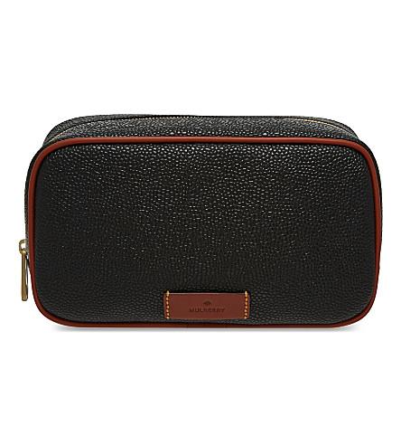 MULBERRY Scotchgrain leather wash case (Black/cognac