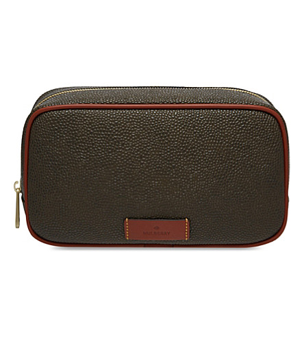MULBERRY Scotchgrain leather wash case (Mole+cognac