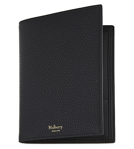 MULBERRY Leather passport wallet (Black