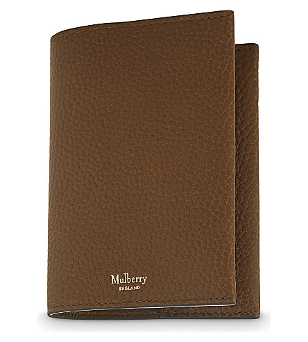 MULBERRY Grained leather passport cover (Oak