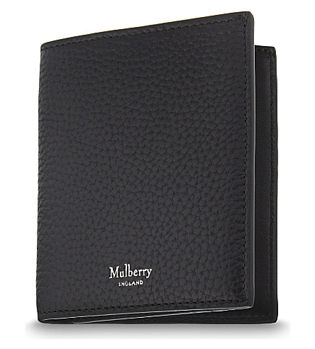 MULBERRY Trifold 粒皮卡钱包 (黑色