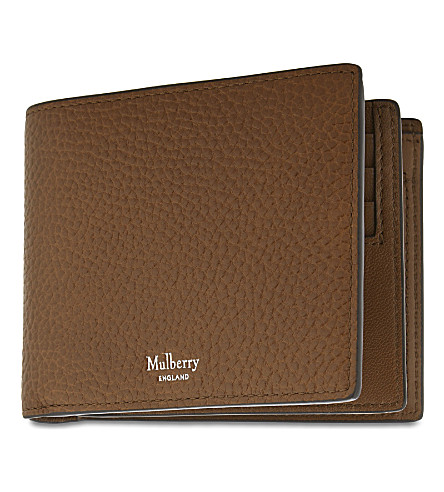 MULBERRY Trifold grained leather card wallet (Oak