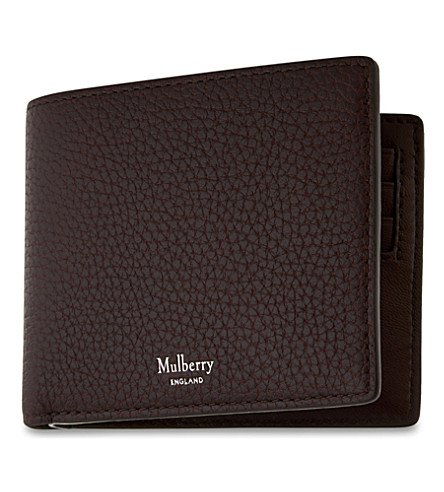 Grained leather billfold wallet