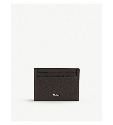 MULBERRY Grained leather card holder (Chocolate