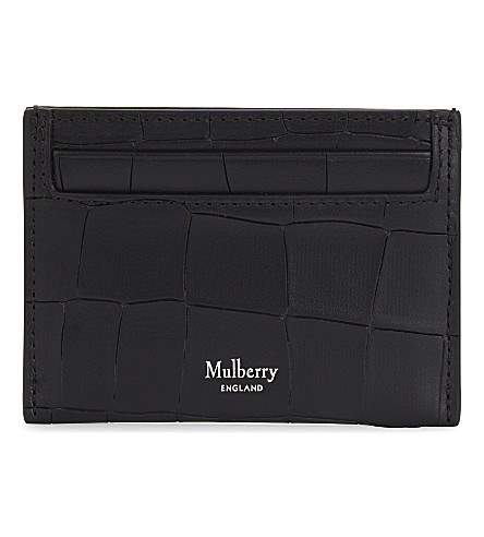 MULBERRY Crocodile-embossed leather card holder (Black