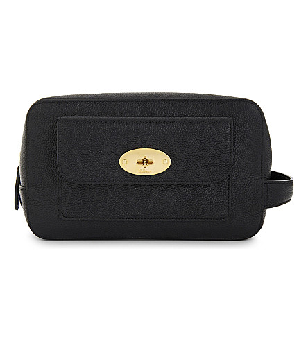 MULBERRY Leather postman's lock wash case (Black