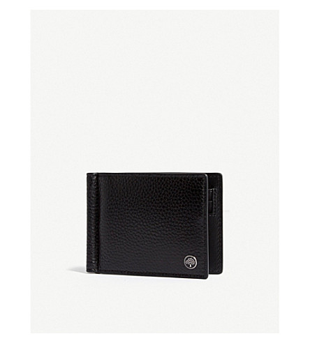 MULBERRY Grained leather moneyclip wallet (Black