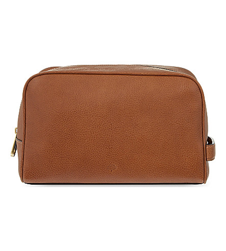 MULBERRY Leather wash case (Oak
