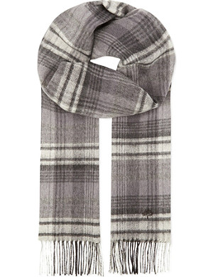 MULBERRY Cashmere & wool checked scarf