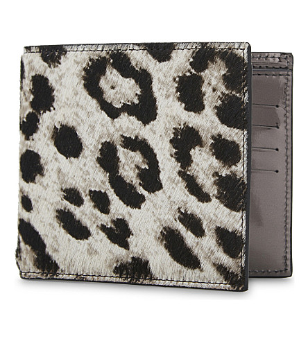 MAISON MARGIELA Snow leopard print leather billfold wallet (Black/dark+grey