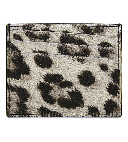 MAISON MARGIELA Snow leopard print calf hair card holder (Black/dark+grey