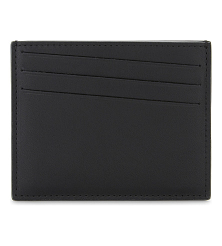 MAISON MARGIELA Stitch-detailed eather card holder (Black/dark+grey