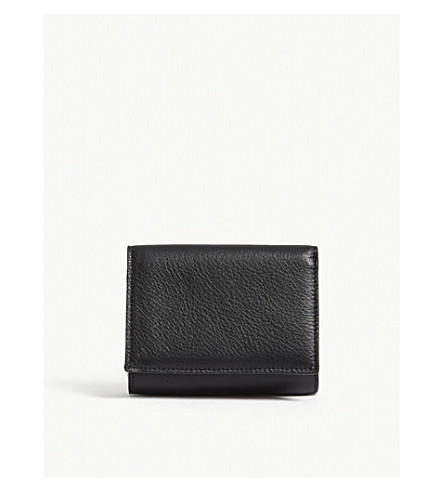 MAISON MARGIELA Folding leather wallet and card holder (Black+red