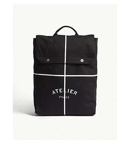 MAISON MARGIELA Atelier canvas backpack (Black+white