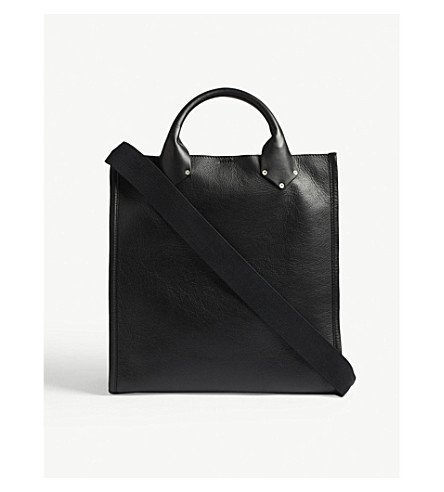 MAISON MARGIELA Grained leather tote bag (Black+red