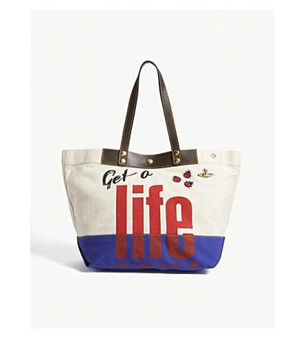 VIVIENNE WESTWOOD Get a Life cotton canvas shopper bag (Ivory+blue