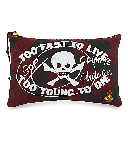 VIVIENNE WESTWOOD Too Fast cotton pouch (Maroon