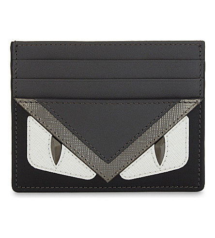 FENDI Bugs eyes leather card holder (Silv+grey