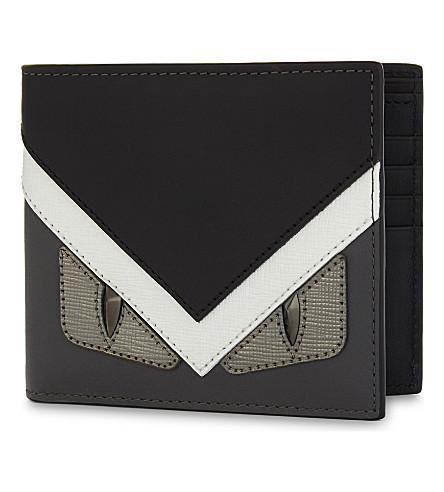 FENDI Bugs eyes leather billfold wallet (Silv+grey