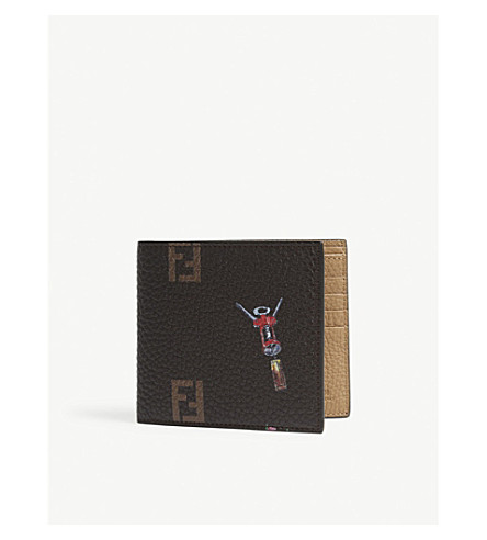 FENDI 日常物件荔枝纹皮革钱包 (多黑