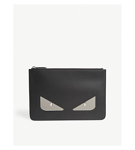 FENDI Eyes leather pouch (Black