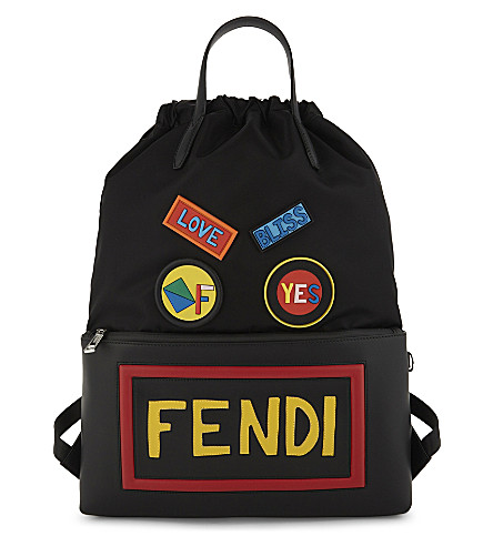 FENDI Leather and nylon printed backpack (Multi