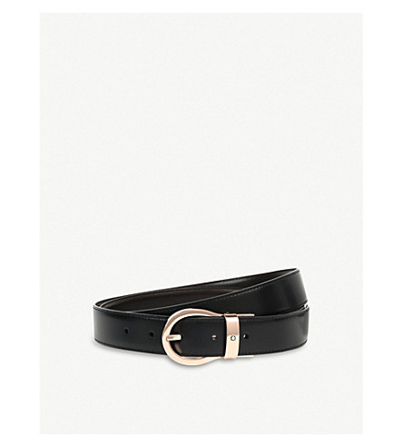 MONTBLANC 扭扣皮带 (黑 + 棕