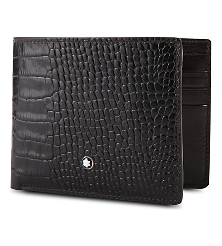 MONTBLANC Meisterstück 6cc croc-embossed leather wallet (Mocha