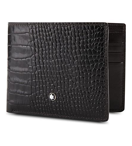 MONTBLANC Meisterstück 6cc croc-embossed leather wallet (Mocha