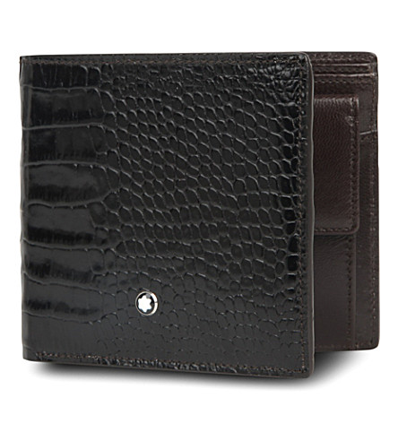 MONTBLANC Meisterstück 4CC croc-embossed wallet (Mocha