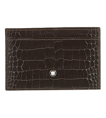 MONTBLANC Croc-embossed leather card holder (Mocha