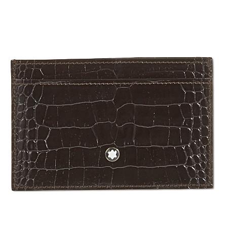 MONTBLANC Croc-embossed leather card holder (Mocha