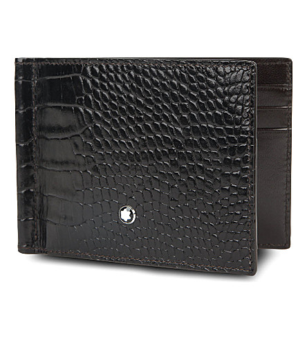MONTBLANC Meisterstück 6CC croc-embossed wallet (Mocha